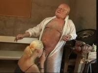 Horny young blonde rides a grandpa's cock