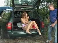 Hot young babe fucked in the trunk of the car