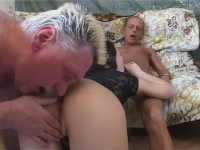 Young babe gets fucked by two old timers