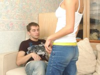 Petite virgin Lisa seduces her boyfriend in a tight white tank and blue jeans