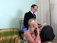 Alina : Young blonde rides old teacher's hard cock : sex scene #9