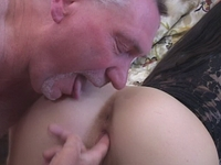 : Young babe gets fucked by two old timers : sex scene #7