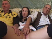: Young babe gets fucked by two old timers : sex scene #12