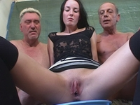 : Young babe gets fucked by two old timers : sex scene #8