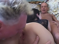 : Young babe gets fucked by two old timers : sex scene #5