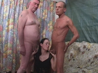 : Young babe gets fucked by two old timers : sex scene #10