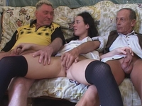 : Young babe gets fucked by two old timers : sex scene #15