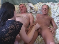 : Young babe gets fucked by two old timers : sex scene #16