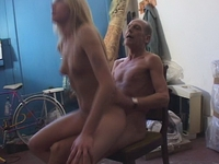 : Horny old man fucks a hot young blonde : sex scene #3