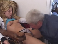 : Gorgeous young blonde loves sucking old cock : sex scene #11
