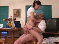 Kristina : Voluptuous brunette coed satisfies her teacher : sex scene #8